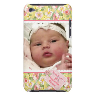 Baby Girl Photograph Scallop Lace Cottage Rose Tag Barely There iPod Case
