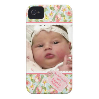 Baby Girl Photograph Scallop Lace Cottage Rose Tag iPhone 4 Case