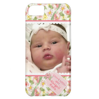 Baby Girl Photograph Scallop Lace Cottage Rose Tag iPhone 5C Cover