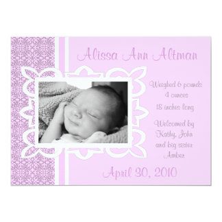 Baby Girl Pink and Grey Birth Announcement