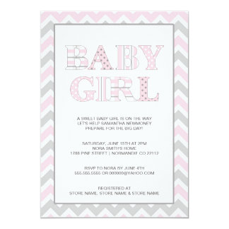 "Baby Girl pink and grey chevron shower invite 5"" X 7"" Invitation Card"