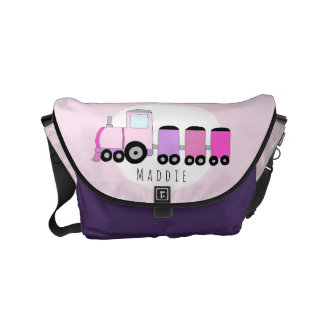 Baby Girl Pink and Purple Train with Name Diaper Small Messenger Bag