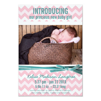 Baby Girl Pink and Teal Chevron Photo 3.5x5 Paper Invitation Card
