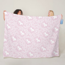 Baby Girl Pink and White Unicorn Pattern Fleece Blanket
