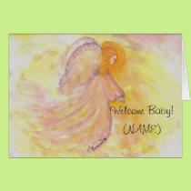 Baby Girl Pink Angel painting Card