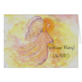 Baby Girl Pink Angel painting Greeting Card