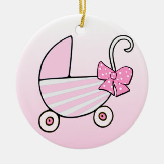 Baby Girl Pink Baby Buggy Christmas Tree Ornaments