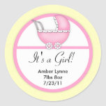 Baby Girl Pink Baby Stroller Customizable Stickers
