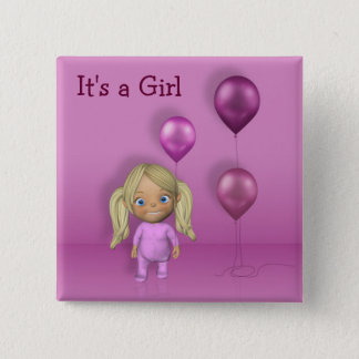 Baby Girl & Pink Balloons - It's a Girl Button