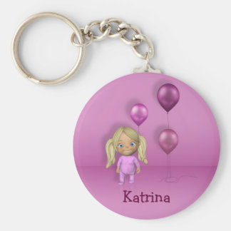 Baby Girl & Pink Balloons Name This! - Keychain