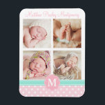 "Baby Girl Pink Birth Keepsake Personalized Photo Magnet<br><div class=""desc"">Cute personalized birth keepsake. Featuring four or your favorite photos. Personalize it with baby&#39;s name and monogram. Blush pink and white polka dots pattern,  mint green details.</div>"