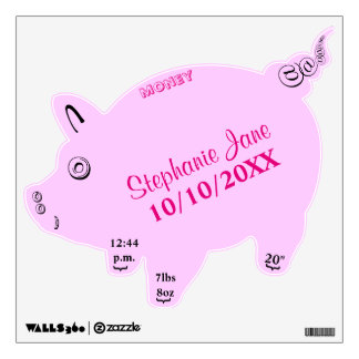 Baby Girl Pink Birth Piggy Bank Baby Stats Wall Decal