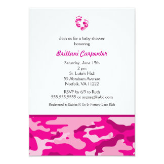 Baby Girl Pink Camouflage Shower Invites feet CAMO