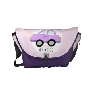 Baby Girl Pink Car with Name Diaper Small Messenger Bag