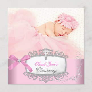 Baby Girl Pink Christening Baptism Cross White Announcement