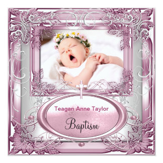 Baby Girl Pink Christening Baptism Cross White Card