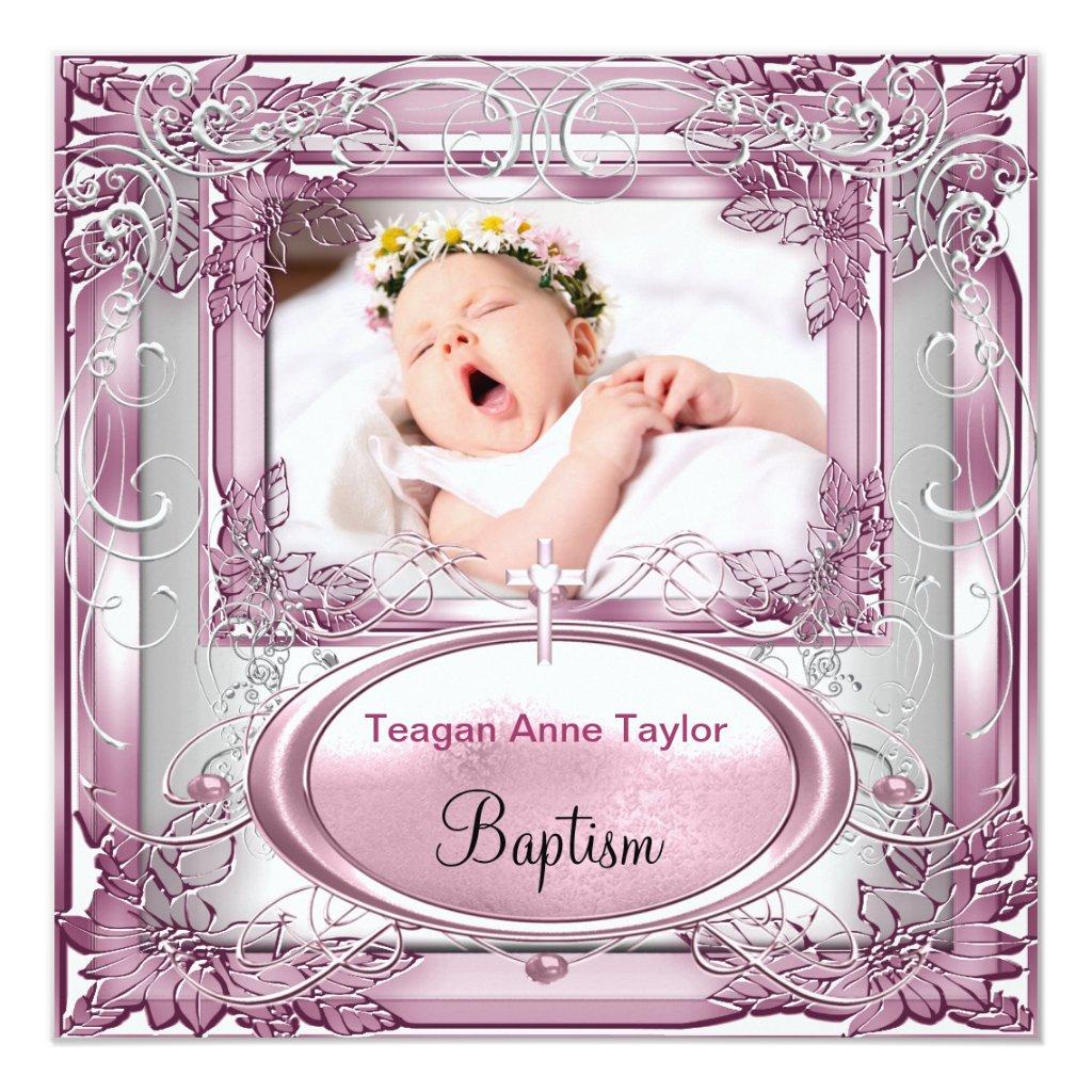 Girl Christening Baptism Cross White Card