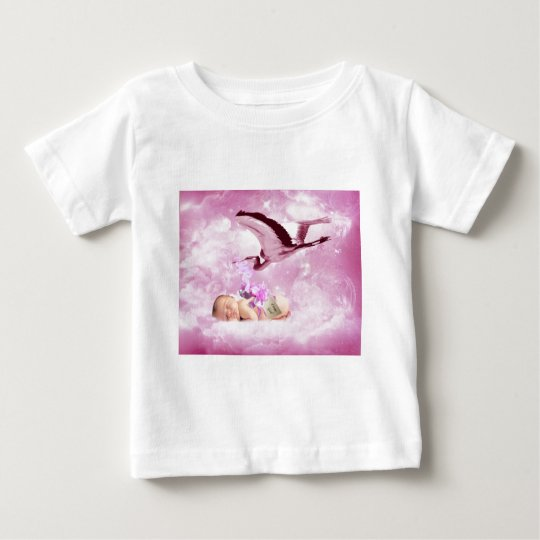 Baby girl pink clouds and stork baby T-Shirt