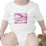 Baby girl pink clouds and stork bodysuit