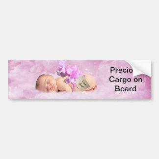 Baby girl pink clouds and stork bumper sticker