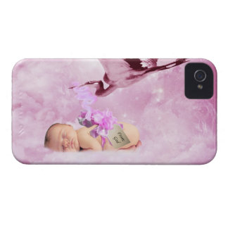 Baby girl pink clouds and stork case iPhone 4 Case-Mate case