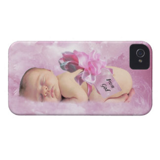 Baby girl pink clouds and stork case iPhone 4 cover