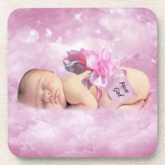 Baby girl pink clouds and stork coaster