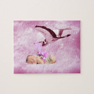 Baby girl pink clouds and stork puzzles