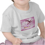 Baby girl pink clouds and stork t shirt