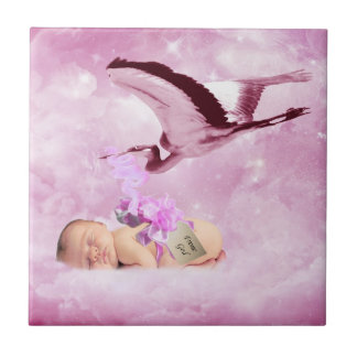 Baby girl pink clouds and stork tile