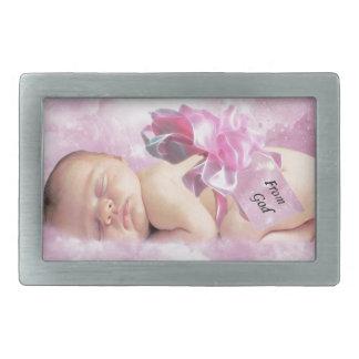 Baby girl pink clouds fantasy rectangular belt buckles
