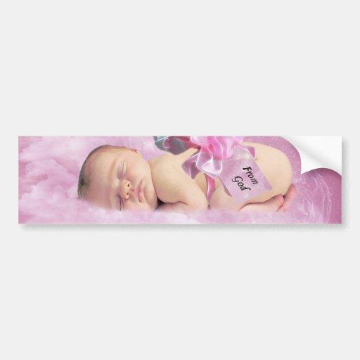Baby girl pink clouds fantasy bumper sticker