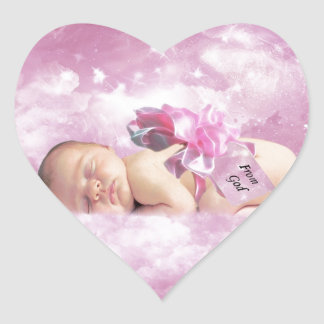 Baby girl pink clouds fantasy heart stickers