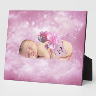 Baby girl pink clouds fantasy plaque