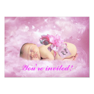 Baby girl pink clouds fantasy shower invitation