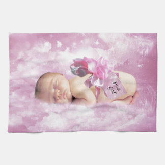 Baby girl pink clouds fantasy towels