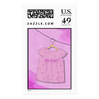 Baby Girl Pink Dress Shower Postage