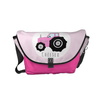 Baby Girl Pink Farmer's Tractor with Name Diaper Small Messenger Bag