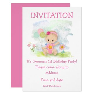 Baby Girl Pink First Birthday Party Invitation