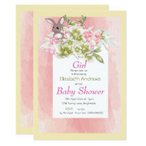 Baby Girl Pink Floral Rabbit Shower Invitation
