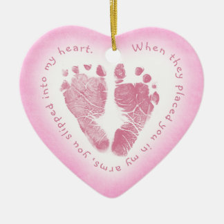 Baby Girl Pink Footprint Photo Ornament