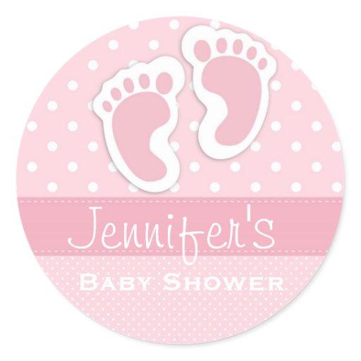 Baby Girl Pink Footprint Polka Dot Shower Stickers