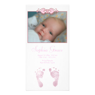 Baby Girl Pink Footprints Birth Announcement