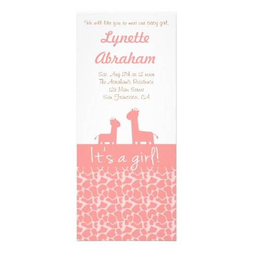 Baby Girl - Pink giraffe silhouettes & prints Custom Announcements