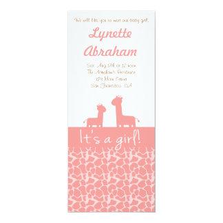 Baby Girl - Pink giraffe silhouettes & prints Custom Announcements