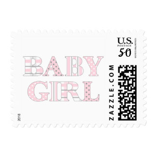 Baby Girl pink gray pattern postage stamp