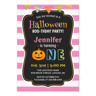 Baby Girl Pink Halloween First Birthday Party Card