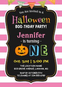 Halloween birthday invitations zazzle baby girl pink halloween first birthday party invitation filmwisefo