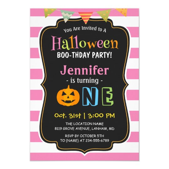 Baby Girl Pink Halloween First Birthday Party Invitation