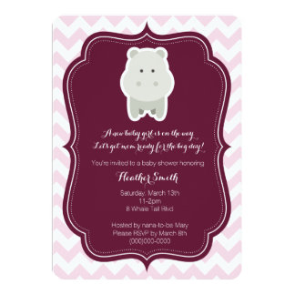 Baby Girl Pink Hippo Invitation
